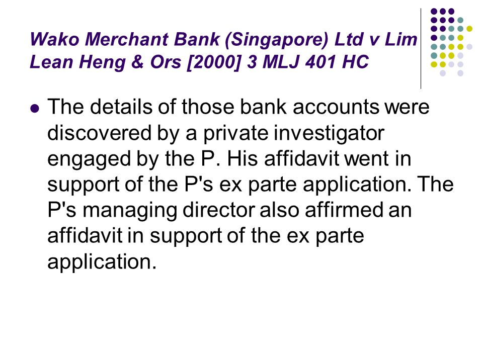 Wako Merchant Bank (Singapore) Ltd v Lim Lean Heng & Ors [2000] 3 MLJ 401 HC
